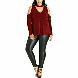 City Chic Cold Shoulder Choker Top sz 16W ~ NWT